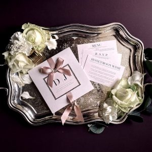 rose gold luxury wedding invitation