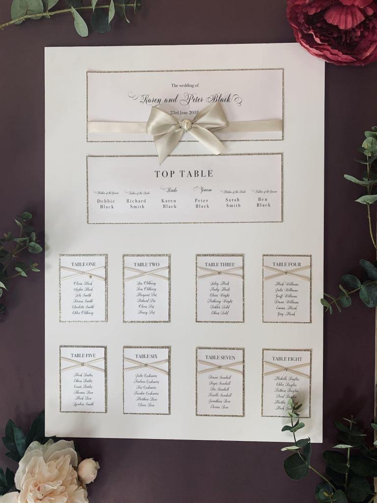 wedding day seating plan and table plan