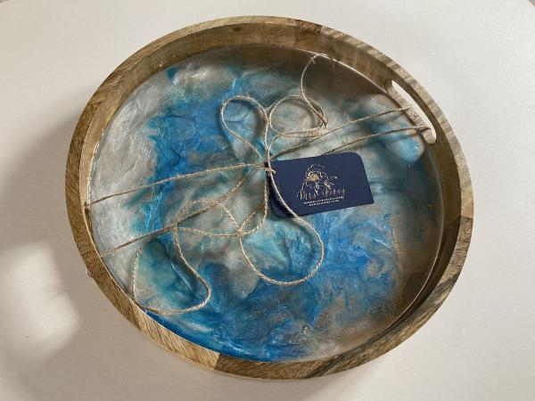 Unique resin tray blue and gold