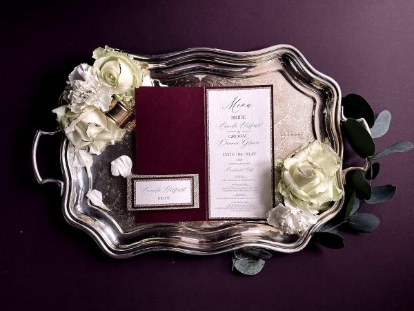 wedding menu burgundy gold