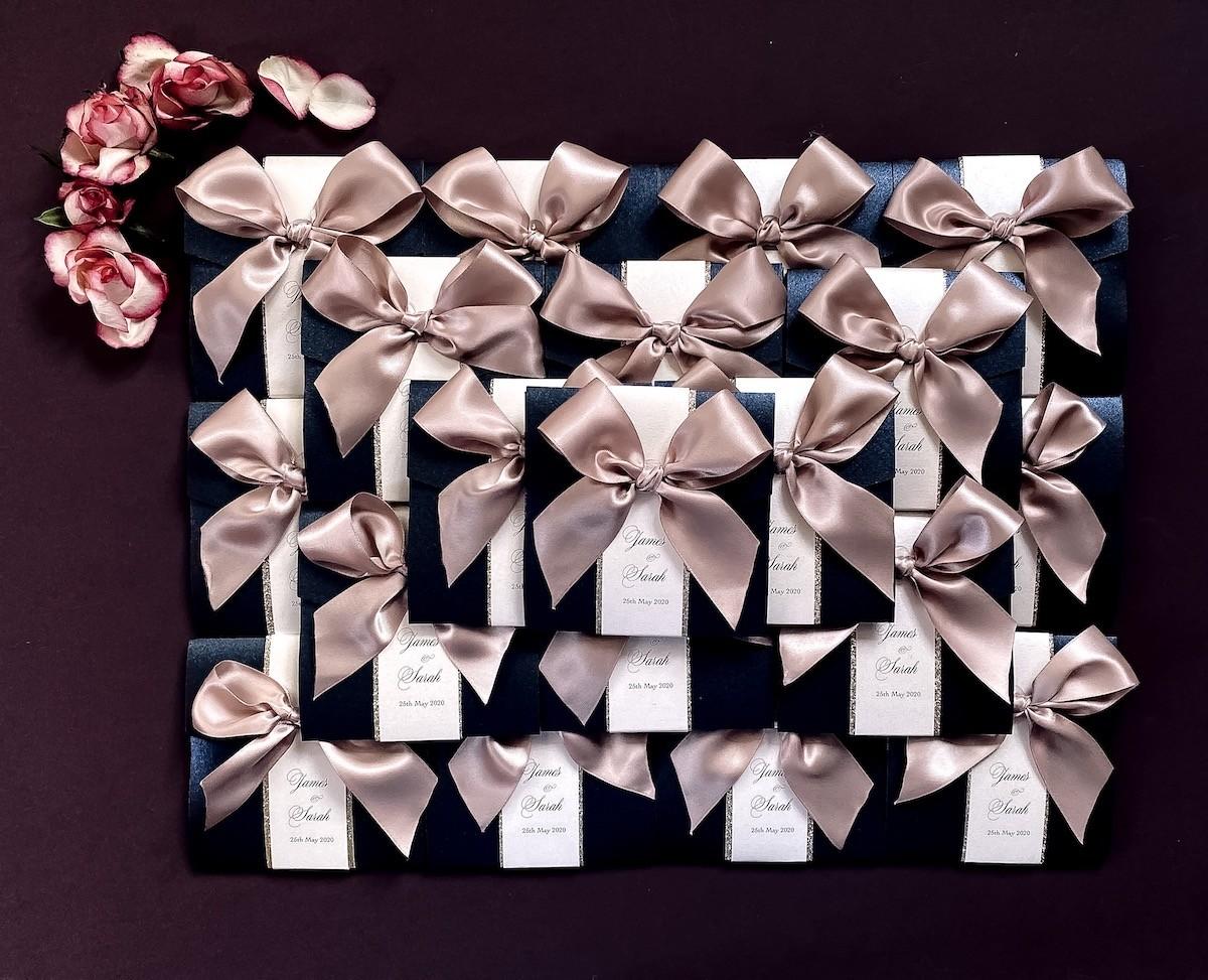 navy and blush wedding invitation