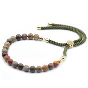 18K Gold Plated Gemstone Moss String Bracelet - Picasso Jasper