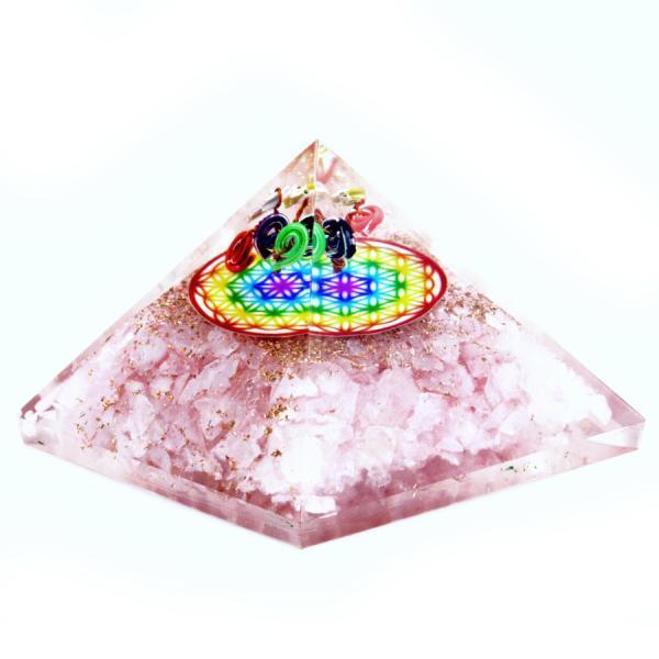 Orgonite Pyramid - Rose Quartz Rainbow Flower of Life - 70 mm