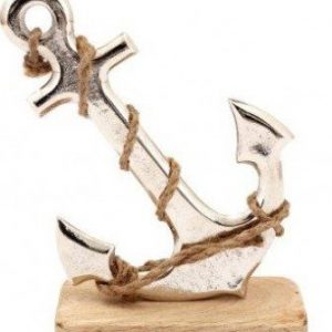 Silver Anchor On Wood Base, 18cm
